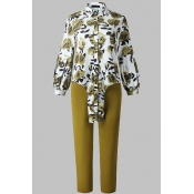 Lovely Casual Floral Printed Green Plus Size Two-p