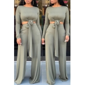 Lovely Casual Knot Design Grey Two-piece Pants Set