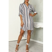 Lovely Casual Striped Khaki Mini Dress