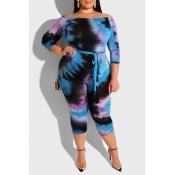 Lovely Leisure Printed Skinny Blue Plus Size One-p