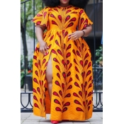 Lovely Casual Printed Croci Floor Length Plus Size