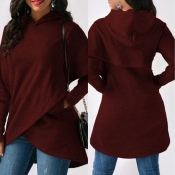 Lovely Work Hooded Collar Wine Red Blouse