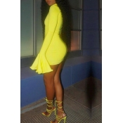 Lovely Trendy Half A Turtleneck Yellow Mini Dress