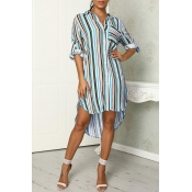 Lovely Casual Striped Baby Blue Mini Dress