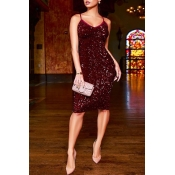 Lovely Party Spaghetti Straps Wine Red Knee Length