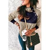 Lovely Mandarin Collar Patchwork Coffee Hoodie