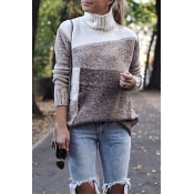 Lovely Color-lump Patchwork Brown Sweater