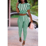 Lovely Trendy Striped Green Two-piece Pants Set