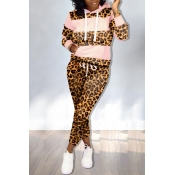 Lovely Trendy Hooded Collar Printed Pink Two-piece Pants Set