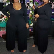 Lovely Casual U Neck Loose Black Plus Size One-pie