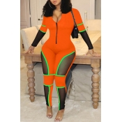 Lovely Casual Patchwork Orange One-piece Jumpsuit