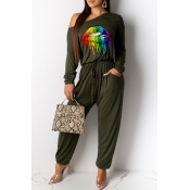 Lovely Casual Lip Printed Green One-piece Jumpsuit