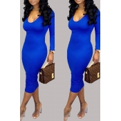 Lovely Casual U Neck Deep Blue Knee Length Dress