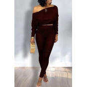 Lovely Trendy Dew Shoulder Wine Red Two-piece Pants Set