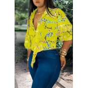 Lovely Casual Turndown Collar Printed Yellow Blous