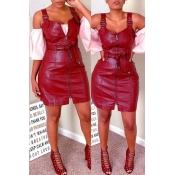 Lovely Casual Zipper Design Wine Red Mini Dress