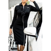 Lovely Casual Turndown Collar Black Knee Length Dr