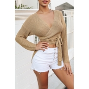 Lovely Casual Lace-up Khaki Sweater