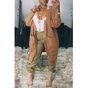Lovely Casual Broken Holes Khaki Cardigan