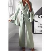 Lovely Temperament Asymmetrical Green One-piece Ju