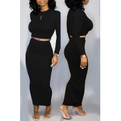 Lovely Trendy Skinny Black Two-piece Skirt Set
