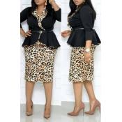 Lovely Trendy Basic Leopard Printed Black Plus Siz