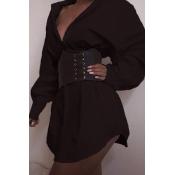 Lovely Casual Turndown Collar Black Mini Dress(Wit