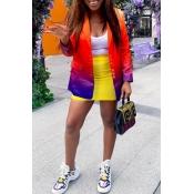 Lovely Trendy Pocket Patched Multicolor Blazer