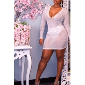 Lovely Sexy See-through White Mini Dress(Without L