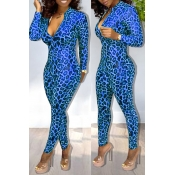 Lovely Sexy Leopard Printed Skinny Blue One-piece Jumpsuit