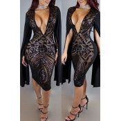 Lovely Sexy Deep V Neck Black Patchwork Black Knee Length Dress