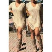 Lovely Casual Side Slit Khaki Mini Dress