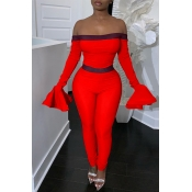 Lovely Trendy Dew Shoulder Flounce Red One-piece J
