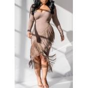 Lovely Casual Tassel Design Khaki Mid Calf Dress