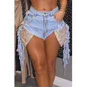 Lovely Casual Patchwork Blue Shorts