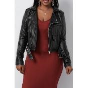 Lovely Stylish Turndown Collar Zipper Design Black