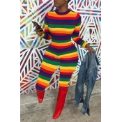 Lovely Chic Striped Skinny Multicolor One-piece Ju