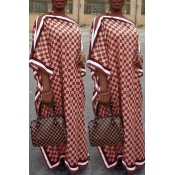 Lovely Casual Printed Red Floor Length Plus Size D