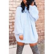 Lovely Casual Winter Basic Blue Mini Dress