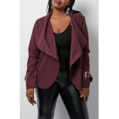 Lovely Casual Turn-down Collar Wine Red Coat