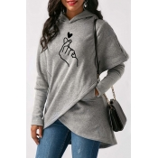Lovely Casual Hooded Collar Cross-over Design Grey