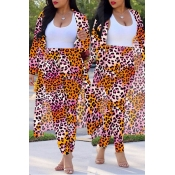 Lovely Casual Leopard Printed Multicolor Plus Size