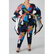 Lovely Casual Floral Printed Dark Blue Plus Size O