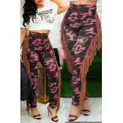 Lovely Casual Tassel Design Camouflage Printed Ros