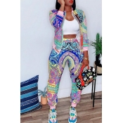 Lovely Leisure Printed Multicolor Two-piece Pants Set