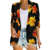 Lovely Casual Printed Black Blazer