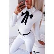Lovely Trendy Turndown Collar Bow-Tie White Blouse