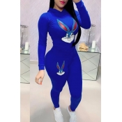 Lovely Casual Hooded Collar Printed Blue Two-piece