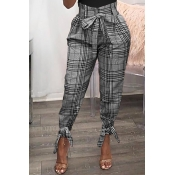Lovely Casual Plaid Printed Grey Pants