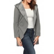 Lovely Casual Hooded Collar Grey Coat